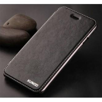 Elegante Leder Book Hülle iPhone 7 Schwarz