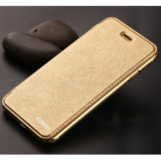 Elegantes Leder Book Hülle iPhone 7 Gold