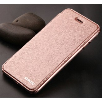 Elegante Leder Book Hülle iPhone 7 Rosa