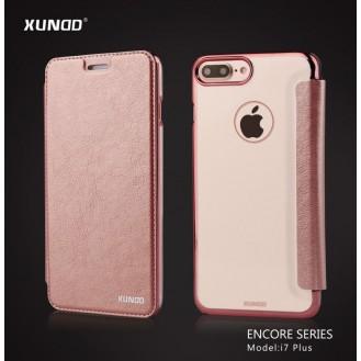 Elegantes Leder Book Hülle iPhone 7 Plus Rosa