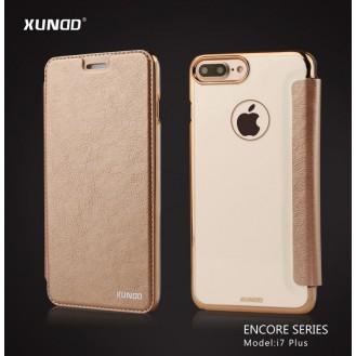 Elegantes Leder Book Hülle iPhone 7 Plus Gold