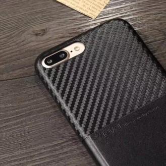 Edle Leder Hülle Tasche iPhone 7 Plus Schwarz