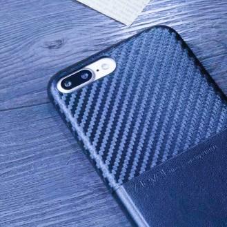 Edle Leder Hülle Tasche iPhone 7 Plus Blau