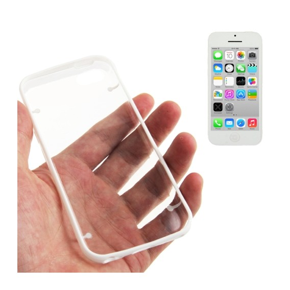 Transparent Bumper Hülle Hard Case Weiss iPhone 5C