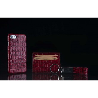 Trinity Echt Ledertasche Set iPhone 7 Rot