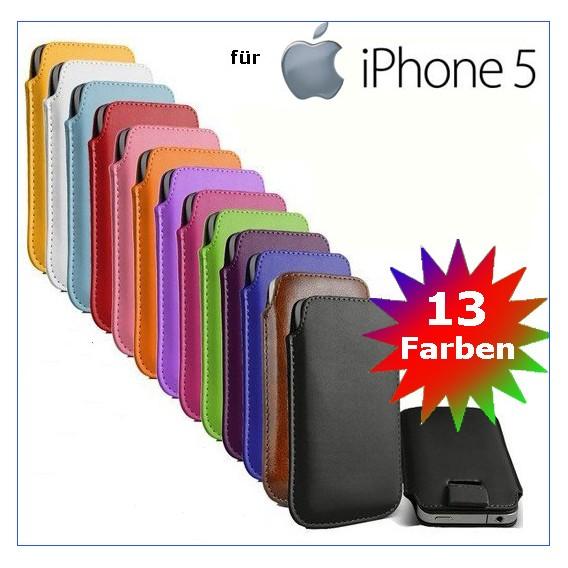 Edles Slim Pull Tab Leder Tasche Hülle Etui iPhone 5 / 5S / SE