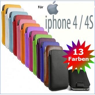 Edles Slim Pull Tab Leder Tasche Hülle Etui iPhone 4 und 4S