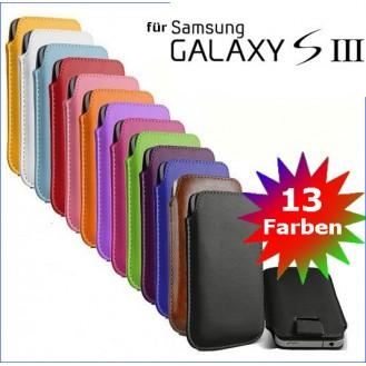 Edles Slim Pull Tab Leder Tasche Hülle Etui Samsung S3 / S4