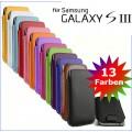 Edles Slim Pull Tab Leder Tasche Hülle Etui Samsung S3