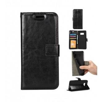 Schwarz Leder Tasche Etui Galaxy S8