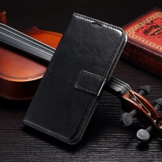 Schwarz Leder Tasche Etui Galaxy S8 Plus