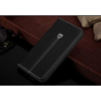 Schwarz Edel Leder Etui Galaxy S8 Plus
